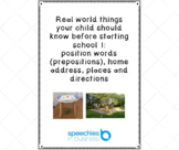 Real world things a child should know before school: place & position words