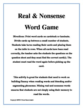 Real/Nonsense Word Detective Game