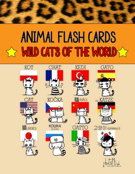 Cat Map Of The World.Realia Photo Animal Flash Cards Wild Cats Around The World Map