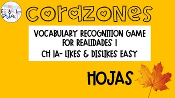 Realidades 1 1A Likes / dislikes easy Vocabulary Recognition Game hojas