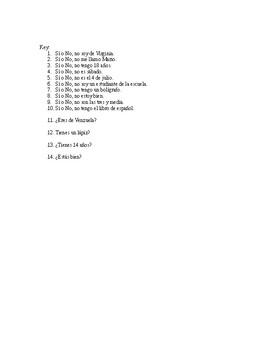 Realidades 1 1A Sí/No Question Practice