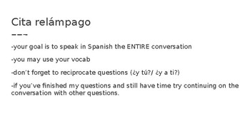 Realidades 1 1B Cita Relámpago - Speed dating conversations PPT