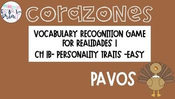 Realidades 1 1B Descriptions Easy Vocabulary Recognition Game Pavos