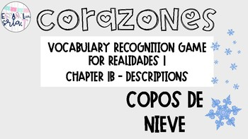 Realidades 1 1B Descriptions Vocabulary Recognition Game Snowflakes