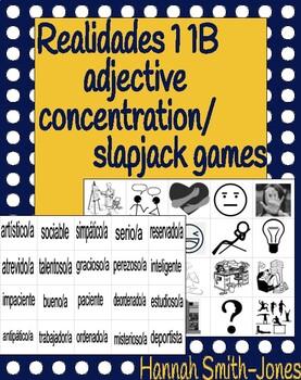 Realidades 1 1B adjective concentration/slapjack games