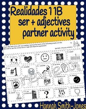 Realidades 1 1B ser adjectives bell ringer partner activity