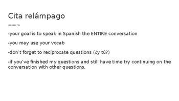 Realidades 1 2A Cita Relámpago - Speed dating conversations PPT