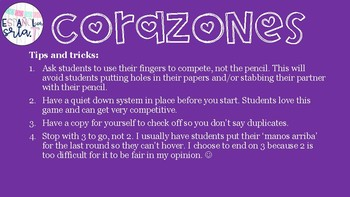 Realidades 1 2A Classes Q/A Vocabulary Recognition Game Corazones