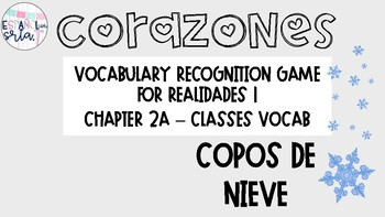 Realidades 1 2A Classes Vocabulary Recognition Game Snowflakes