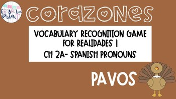 Realidades 1 2A Pronouns Vocabulary Recognition Game Pavos