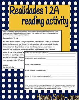 Realidades 1 2A reading activity