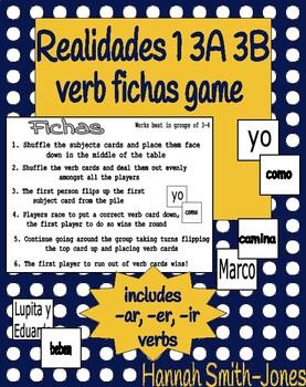 Realidades 1 3A 3B verb fichas game
