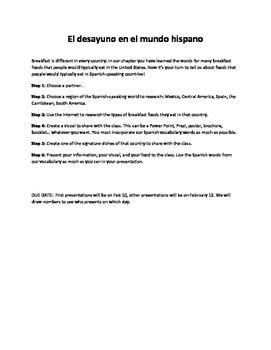 Realidades 1 3A El Desayuno en el Mundo Hispano Rubric PDF