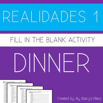 Spanish 1  Dinner Fill in the Blank (La Cena)