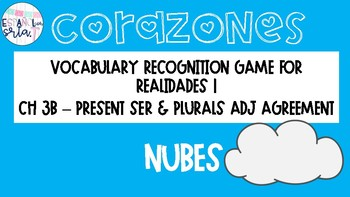 Realidades 1 3B Present Ser & Plurals Vocabulary Recognition Game Nubes