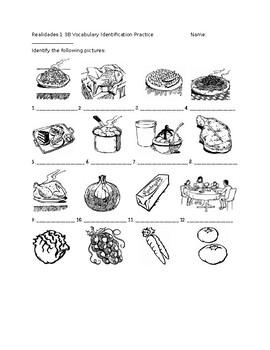 Realidades 1 3B Vocabulary Identification Practice/Quiz