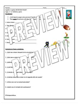 Spanish 1 (Realidades 4B) Review packet vocab & grammar: Ir, jugar, sports