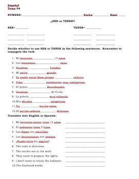 Realidades 1 5A SER or TENER Vocabulary Worksheet
