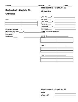 Realidades 1: 5A and 5B Vocabulary and Grammar