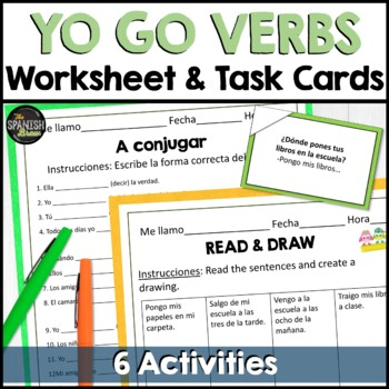 Spanish 1 Worksheet Grammar Practice Yo Go Verbs Present Tense Tpt