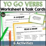 Spanish 1 worksheet & task cards on Yo go verbs present tense