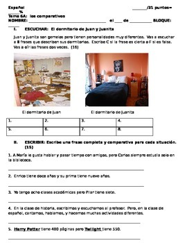 Realidades 1 6A Comparisons Quiz
