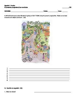 Realidades 1 6A Present Progressive and Commands quiz