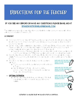 Realidades 1, 6A Reading Comprehension Activity