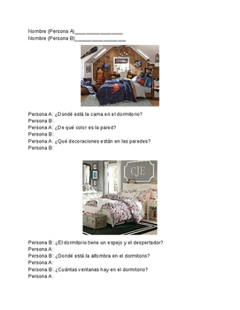 Realidades 1 6A Speaking Information Gap Activity Bedroom Questions