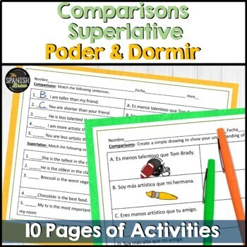 Realidades Spanish 1 6A review sheet- comparisons, superlative, poder, dormir