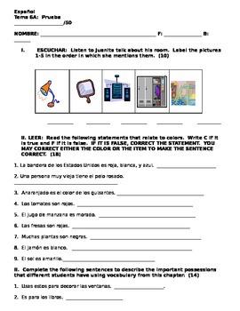Realidades 1 6A vocabulary quiz