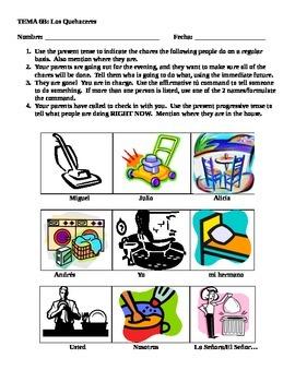 Realidades 1 6B Chores:  Commands/Present Progressive/Present/Immediate Future