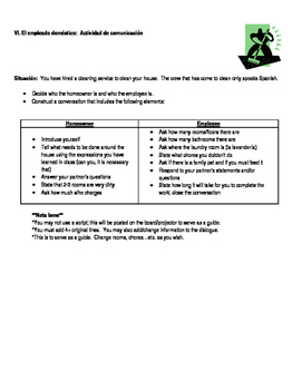 Realidades 1 6B Chores Practice and Speaking Activities