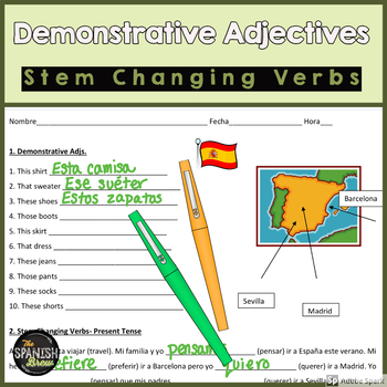 Realidades 1 7A Bundle: vocab, demonstrative adjectives, stem changing verbs