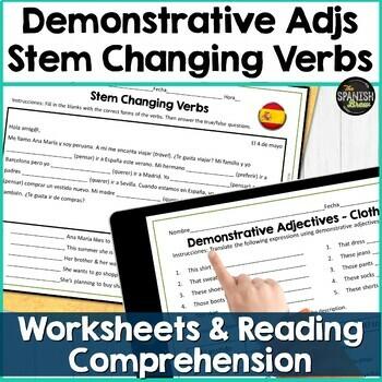 Spanish 1 worksheet for clothing demonstrative adjectives & stem changing verbs
