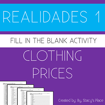 Spanish  Clothing Prices Fill in the Blank