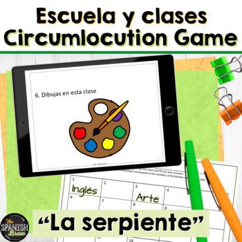 Spanish 1 game La Serpiente: escuela, school, present tense verbs