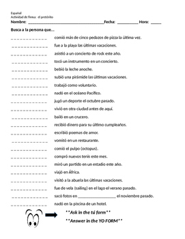 Realidades 1 8A Preterite Communicative Signature Activity
