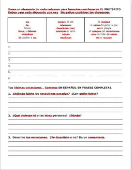 Realidades 1 8A Travel Verb Practice/Preterite Worksheet