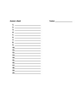 Realidades 1 8A Vocabulary Quiz