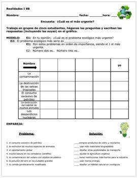 Realidades 1 8B  Spanish EARTH DAY Communicative Activity