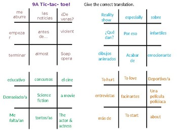 Realidades 1 9A 9B  Two review games