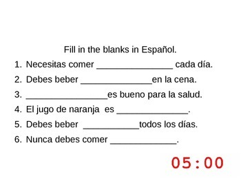 Realidades 1-Bellringers for Chapter 3B