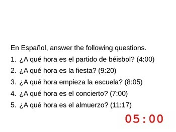 Realidades 1-Bellringers for Chapter 4B