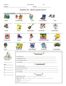 Realidades 1 CH 1A Note sheet