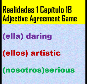 Realidades 1 Capítulo 1B slides for white board game