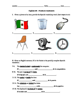 Realidades 1 Capítulo 2B vocab quiz/practice on classroom items and prepositions
