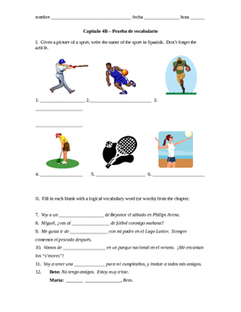 Realidades 1 Capítulo 4B vocab quiz/practice on sports, le