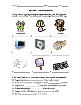 Realidades 1 Capítulo 6A vocab quiz/practice on bedroom items and colors