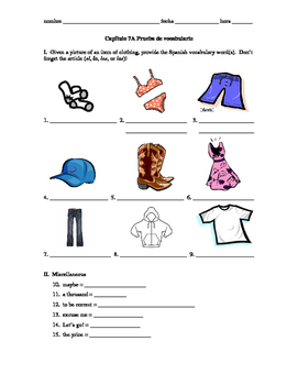 Realidades 1 Capítulo 7A vocab quiz/practice on clothing,